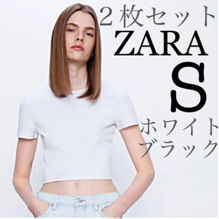 【新品未使用】ZARA クロップド丈Tシャツ コットンT 白+黒 2枚セット S(Tシャツ(半袖/袖なし))