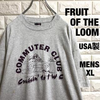 アメリカ古着 フルーツオブザルーム  アニマルプリント Tシャツ メンズXL