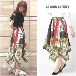 アズノゥアズピンキー(AS KNOW AS PINKY)のアズノウアズ ◆ スカーフ柄ヘムスカート ◆(ひざ丈スカート)