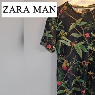 ZARA - 【美品】ZARA MAN Tシャツ 花柄 黒 ブラック 40 Mサイズ