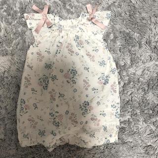 petit main - 花柄肩リボンロンパース