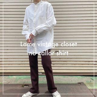 Santa Monica - 90s 古着 ノーカラーシャツ リネンシャツ ユニセックス ビンテージ