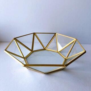 【新品・残りわずか!】ガラス製小物入れ 八角形 11cm×11cm×4.5cm