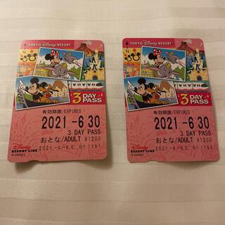 ディズニー(Disney)のディズニーリゾートライン 大人 3DAY PASS きっぷ 切符 未使用(鉄道乗車券)