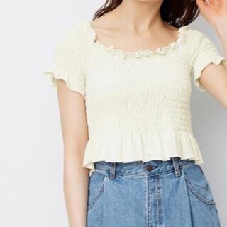 ジーユー(GU)のトップス オフショルダー gu ジーユー アイボリー XL 新品未使用(Tシャツ(半袖/袖なし))