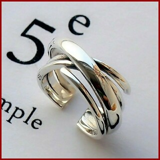 Ameri VINTAGE - シルバー 925 多重 クロス リング フリーサイズ ワイド 指輪 レディース