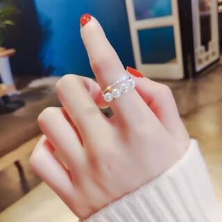 パール リング 2連 フリーサイズ フリー 2連リング シンプル プチプラ 指輪