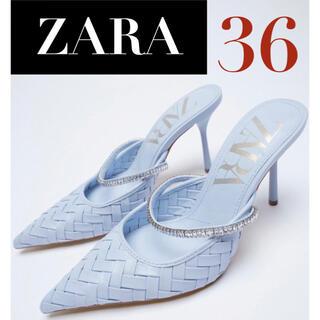 ザラ(ZARA)の【新品/未着用】ZARA ラインストーンストラッププレイトヒール ミュール(ミュール)