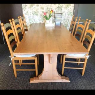リビングダイニングテーブル、イス6つもセットウッド、木製、イタリア製家具(ダイニングテーブル)