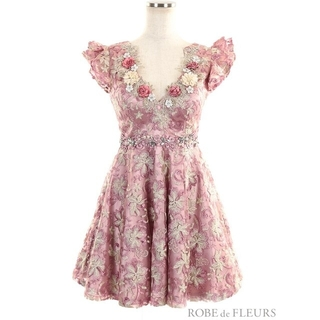 ROBE - robe de fleurs 3Dフラワーモチーフラメ刺繍レースフレアミニドレス