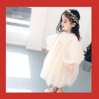 80cm♡バルーン袖ふんわりレースチュールワンピース 結婚式誕生日(セレモニードレス/スーツ)