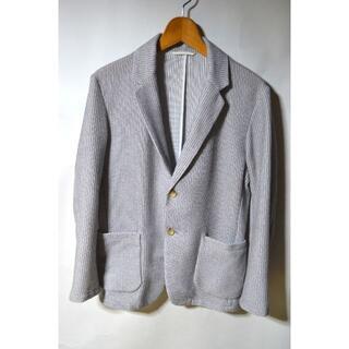 ジーユー(GU)のGU ジーユー ニットジャケット グレー M メンズ 長袖 テーラードジャケット(テーラードジャケット)