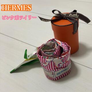 エルメス(Hermes)のHERMES ツイリー ピンク系 訳ありお値打ち価格(バンダナ/スカーフ)