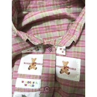 ピンクハウス(PINK HOUSE)のワンダフルワールド ピンクハウス ワッペン ワイシャツ ブラウス くま クマ(シャツ/ブラウス(長袖/七分))