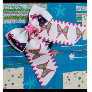 蝶 蝶々 姉妹 和柄  羽織柄 グログランリボン たらりんリボン ヘアゴム 4