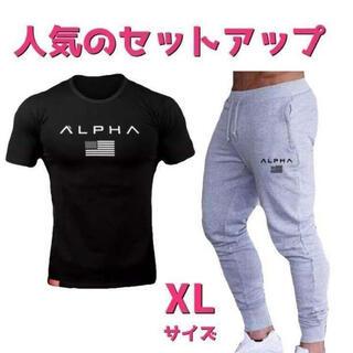 Tシャツ×スウェットジョガーパンツセットアップメンズジムウェアXLサイズ黒グレー