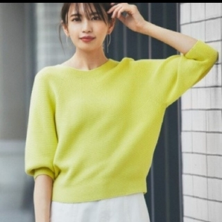 UNIQLO - ✨美品✨ユニクロ 3Dコットンバルーンスリーブセーター 七分袖 M イエロー