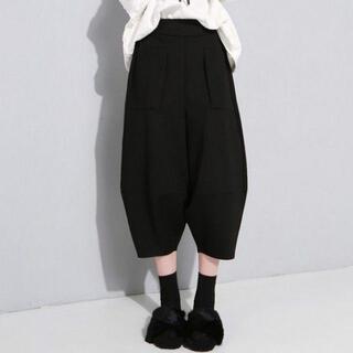 ブラック Lサイズ レディース パンツ サルエル 7分丈 カジュアル シック 黒(サルエルパンツ)