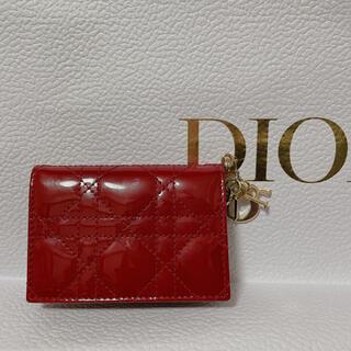 クリスチャンディオール(Christian Dior)のDior カードホルダー カードケース レッド 【美品】(パスケース/IDカードホルダー)