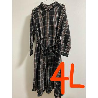 4Lサイズ チェック柄 長袖ワンピース(ひざ丈ワンピース)