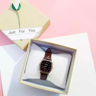 【割引き中】レディース 腕時計 クォーツ スクエア ブラウン ブラック(腕時計)