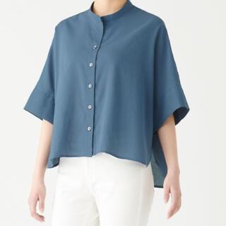 ムジルシリョウヒン(MUJI (無印良品))のインド綿バスケット織り五分袖ブラウス XS~S スモーキーブルー(シャツ/ブラウス(半袖/袖なし))