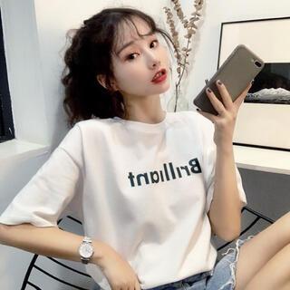 ロゴTシャツ シンプル Uネック プリントT  韓国服