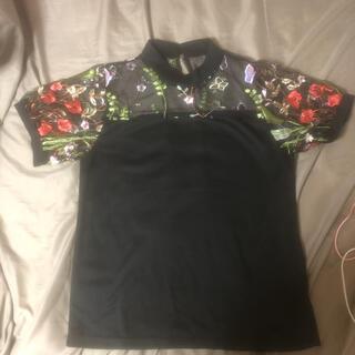 シマムラ(しまむら)のトップス チュールトップス 黒 刺繍トップス(Tシャツ(半袖/袖なし))