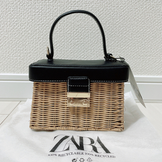 ザラ(ZARA)のZARA ラタンミノディエールケース かごバッグ 正規品 新品 タグ付き(かごバッグ/ストローバッグ)