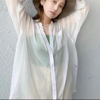 Kastane - kastane シャイニーシフォンビッグシャツ ホワイト