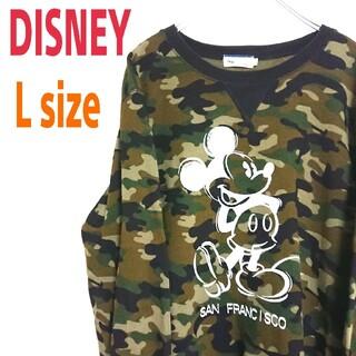 Disney - 90s DISNEY ディズニー カモフラ柄 迷彩  スウェット ミッキー