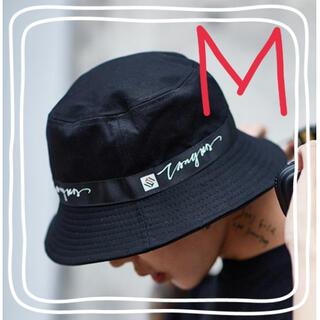 【安心価格】バケットハット サイドロゴ 紫外線対策 帽子 メンズ ブラック M(ハット)