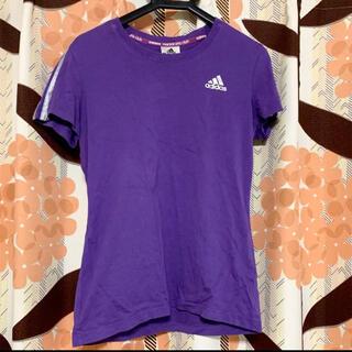 アディダス(adidas)のadidas アディダス Tシャツ 紫 パープル レディース  S 半袖 綿(Tシャツ(半袖/袖なし))