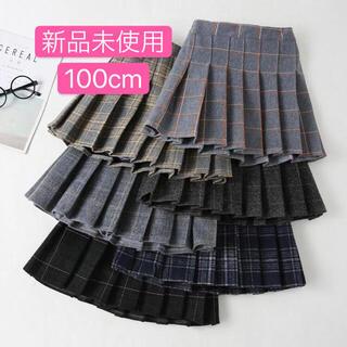 新品 チェック スカート 100cm 入園式 ファミリア 好き ネイビー (スカート)