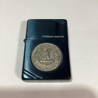 ジッポー(ZIPPO)の1994製造年 ZIPPO ブルーチタンコーティング コイン付き(タバコグッズ)