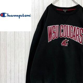 Champion - チャンピオン カレッジ系 トレーナー スウェット フロッキー刺繍 黒 L