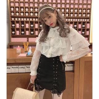 スワンキス(Swankiss)のSwankiss♥PN lace up casual sk ブラック(ミニスカート)