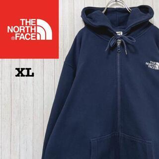 THE NORTH FACE - ノースフェイス パーカー スウェット ネイビー 刺繍ロゴ ビッグサイズ XL