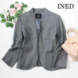 INED - ネド★カラーレス ジャケット ノーカラー Vネック グレー 9号(M) 通勤