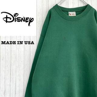 ディズニー(Disney)のディズニー USA製 トレーナー スウェット グリーン 裏起毛 L(スウェット)