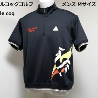 le coq sportif - ◆ルコックゴルフ 【メンズ 半袖 ハーフジップシャツ 大ロゴプリント M 黒】