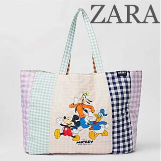 【新品未使用】ZARA ミッキーマウス ディズニー ギンガムチェックトートバッグ(トートバッグ)