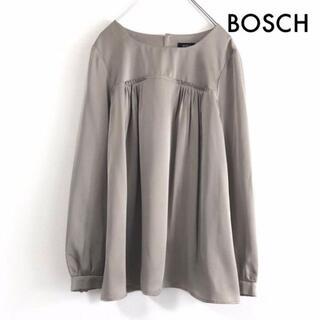 BOSCH - ボッシュ BOSCH 胸元タック切り替え 長袖 ブラウス トップス チュニック
