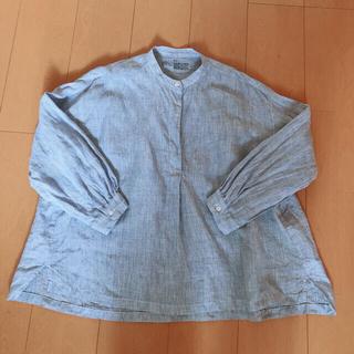 MUJI (無印良品) - 無印良品 ノーカラーシャツ プルオーバー リネンシャツ 青×白 ピンストライプ