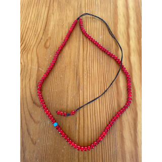 goro's - 5mmWHITE HEARTS BEADS NECKLACE45-D.RED
