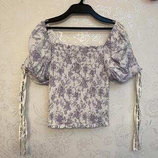 eimy istoire - Amanda flower eimy ribbon シャーリング tops