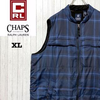 CHAPS - チャップス ラルフローレン ダウンベスト ブルー チェック ジップアップ XL