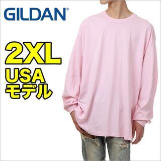 ギルタン(GILDAN)の【新品】ギルダン 長袖 Tシャツ 2XL ピンク メンズ ロンT 無地(Tシャツ/カットソー(七分/長袖))