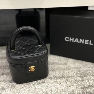 CHANEL - CHANEL シャネル ラムスキン マトラッセ バニティバッグ 黒