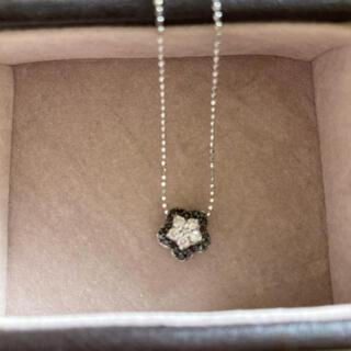 フラワー ネックレス ダイヤモンド ブラックダイヤ ホワイトゴールド